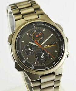 Vintage Seiko Speedmaster 7T42-7A10 Titanium Chronograph Quartz Mens Watch