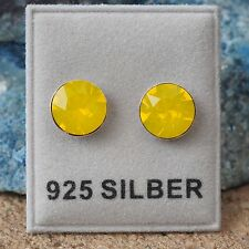NEU 925 Silber OHRSTECKER 8mm SWAROVSKI STEINE yellow opal/gelb OHRRINGE