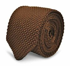 Frederick Thomas Knitted Silk Mens Tie - Chocolate Brown - Plain Skinny Wedding