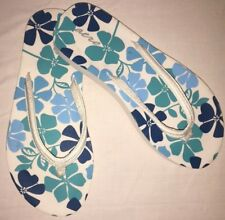 AEROPOSTALE FLIP FLOPS~SZ 8~WHITE FABRIC TOP W/FLORAL DESIGN ON FOOT BED