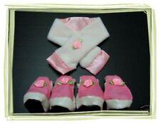 Dog Pet apparel cute Pink Floral Set-Scarf & Boots-own design.S till M