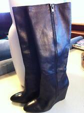 ZiNgEr Steve Madden Sleek Black Knee High Wedge Leather Boots Outside Zipper 8.5