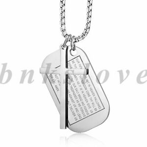 Mens Stainless Steel English Bible Lords Cross Dog Tag Pendant Necklace Chain