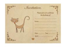 Vintage Cat Birthday Invitations With Brown Kraft Envelopes - Pack of 20