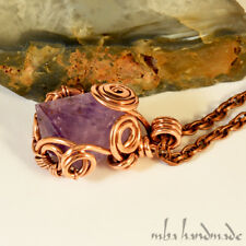 Amethyst Point Necklace Antiqued Copper Wire Wrapped Gemstone Crystal Healing