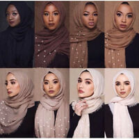 Fashion Women's Crinkle Pearl Muslim Islamic Hijab Scarf Lady Wrap Shawl Scarves