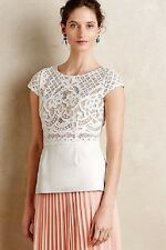$220 NWT Anthropologie BAILEY 44 Regatta Peplum Lace Faux Leather Top - L