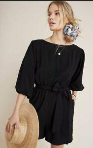 NEW $128 Anthropologie Francesca Balloon-Sleeved Romper BLACK  M Feminine Chic