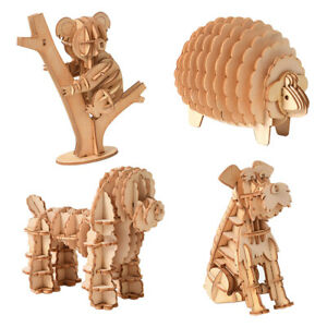 Jigsaw Puzzles 3D Wooden Model Self-Assembly Toy Educational For Kids Adult NP