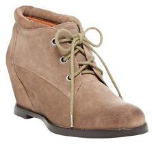 BLOOMINGDALES Luxury Rebels beige tan ankle wedge bootie boots 37.5 7.5 8