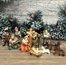 11 Hand Painted Resin Figures for Christmas Nativity Manger Scene 89331
