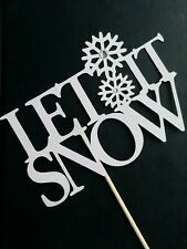 CHRISTMAS CAKE PICK TOPPER DECORATION WHITE GLITTER LET IT SNOW W/GEMS