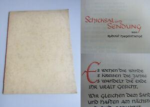 Käthe Nöldechen-nasse: Kalligraphie-Handschrift 1953 / Poem Rud. Hagelstange