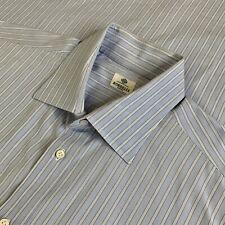 17 Borrelli Napoli Light Blue Stripe 100 % Cotton Spread Collar Dress Shirt