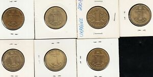 7 Ukraine COINS 1 GRIVNI , DIFFERENT  YEARS