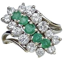 Natural Emerald Diamond 14K White Gold Cascade Waterfall Cocktail Climber Ring