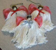 Handmade Angel Ornaments Ribbon Wings Lot Of 3 Gifts Tree Decor Package Tie Ons