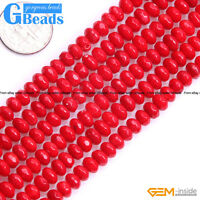 """4x6mm Pink Red White Coral Faceted Rondelle Spacer Beads Free Shipping 15""""Strand"""