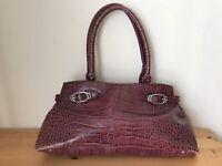 Cole haan burgundy croc embossed handbag satchel