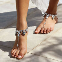 Crystal Barefoot Sandal Anklet Foot Chain Toe Ring Beach Ankle Women JewODUS