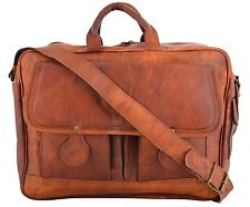 HANDMADE GOAT LEATHER DESIGNER RUSTIC LEATHER BRIEFCASE LAPTOP SATCHEL BAG
