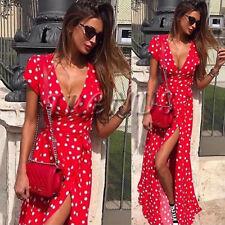 UK Womens Holiday Polka Dots Slit Ladies Maxi Long Summer Print Beach Dress 6-14