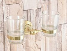 Wall Mounted Gold Color Brass Bathroom Toothbrush Tumbler Holder Set lba318
