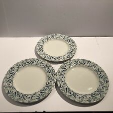 "3 Wedgwood Home Amway Salad Luncheon Plates 9"" Blue & Green Swirl Accent Scroll"