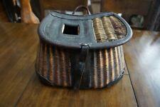 George Lawrence split willow creel, dark leather diamond weave pattern
