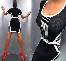 Neu Unique Stretch Perfect Fit Damen Kleid Elegant Sexy L64 Top Dress L/XL