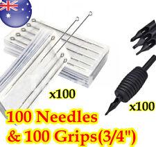 "100 Disposable Tattoo 3/4""Grips Tubes & 100 Tattoo Needles"