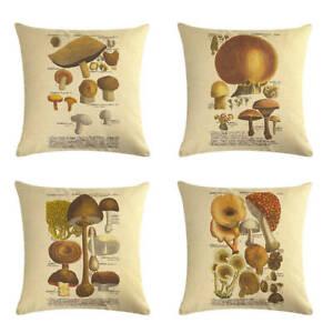Retro mushroom cushion cover sofa bed throw pillow case botanical almofada