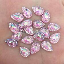 DIY 50pcs 8mm*12mm AB Resin Drop shape Flatback Rhinestone Wedding crafts/Pink