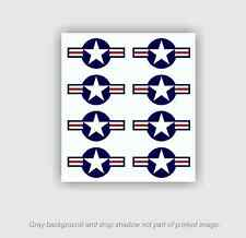 8pk - USAF Roundel Decals .75h x 1.4w Stickers Air Force Logo Military Aircraft