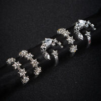 5PCS/Set Crystal Silver Star Flower Stackable Sparkly Rings Boho Vintage Jewelry
