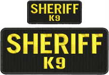Sheriff K9 embroidery patches 4x10 and 2x5 hook gold