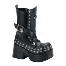 Discontinued DEMONIA Platoon-205 Studs Buckles Goth Punk Platform Calf Boots