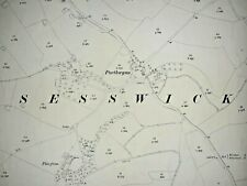Old Antique Ordnance Map 1912 Denbighshire XXXVI.2 Wrexham Sesswick ...