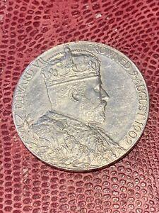 1902 KING EDWARD VII & QUEEN CONSORT ALEXANDRA CORONATION SILVER MEDALLION - O2