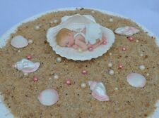 Edible baby girl & edible sea shell Christening Baptism cake topper decoration