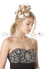 Central Chic Elegante Sombrero Tocado Boda Clip de Pelo con Pluma Carreras Ascot