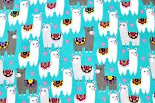 FLORAL WHITE & GREY LLAMAS ON TURQUOIS ANTI PILL FLEECE MATERIAL  2 YDS 60 X 72""
