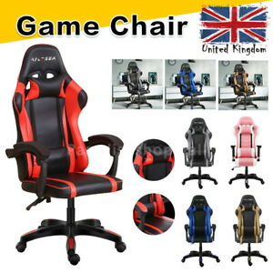 Office Racing Gaming Chair Footrest Leather Swivel Computer Desk Chairs Recliner