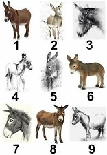 Donkey Christmas Small or Large Sticky White Paper Stickers Labels New