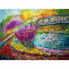 Water Lilies Bridge Spring Flowers Painting Original Oil Impasto Palette Knife