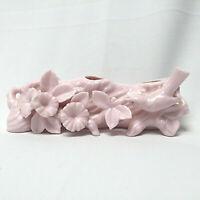 Pink Bird Flowers Porcelain Vase Japan