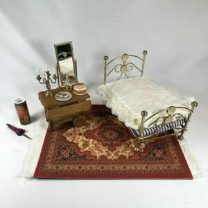 1:12 Scale VINTAGE MINIATURE Brass Tone Bed Wood Bar Cart Cake Accessories