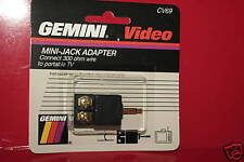 NEW GOLD MINI JACK ADAPTER 300 OHM WIRE TO PORTABLE TV