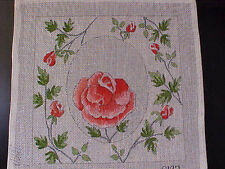 Needlepoint Canvas Hand Stitch Painted Pink Roses Oval 18 Count Mono Zweigart