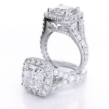 3.24 Ct Asscher Cut Split Shank Halo Diamond 18K Engagement Ring G,VS1 GIA